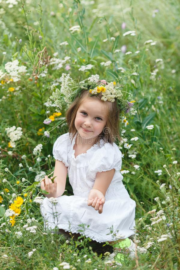 La niña huele wildflowers en un prado, imágenes de archivo libres de regalías