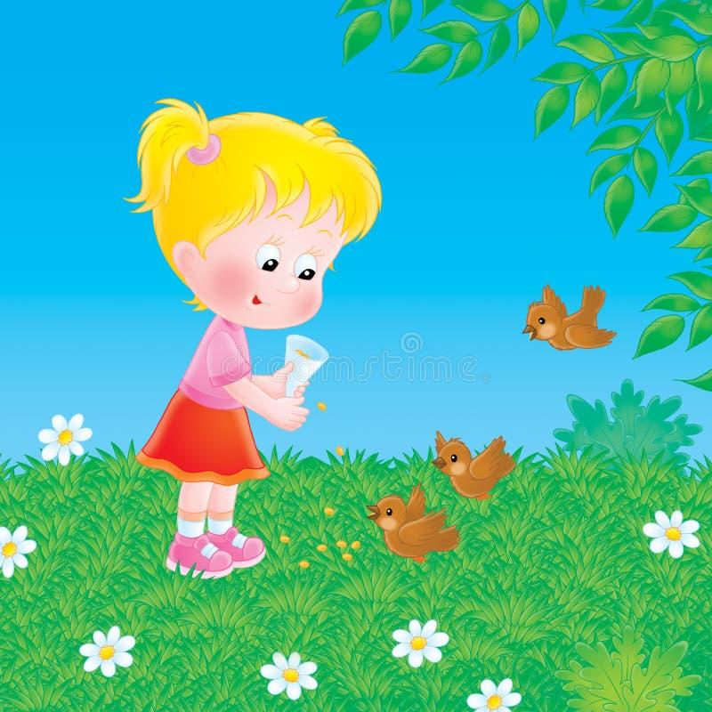 La niña introduce los pájaros ilustración del vector