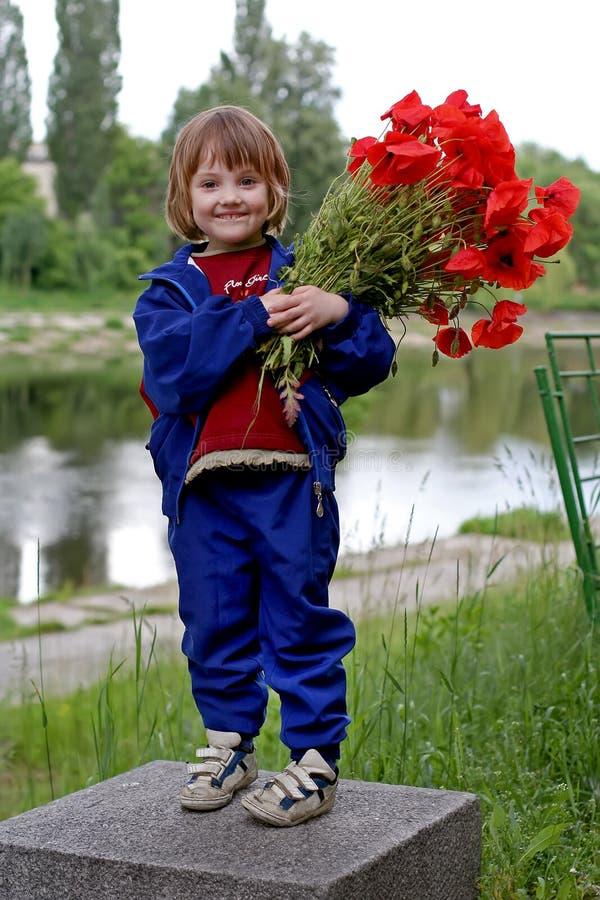 La niña linda está sosteniendo amapolas de un ramo foto de archivo