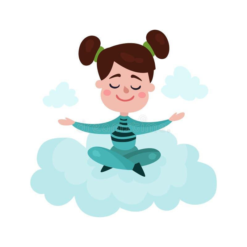 La niña morena dulce que se sienta en una nube y que medita, niño fantasea y sueña el ejemplo de la historieta stock de ilustración