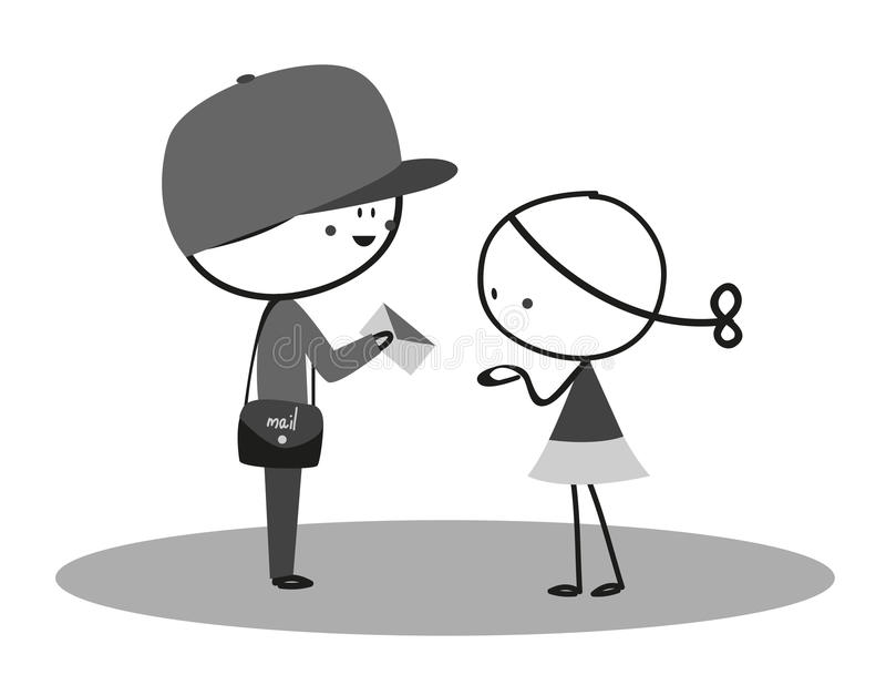 La niña recibió una letra del cartero libre illustration