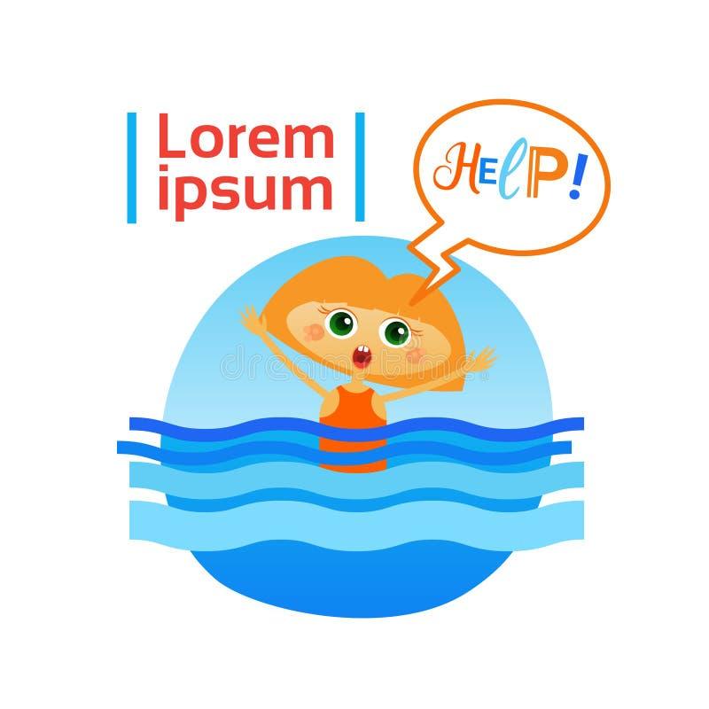 La niña se ahoga en ayuda de la necesidad del niño del agua stock de ilustración