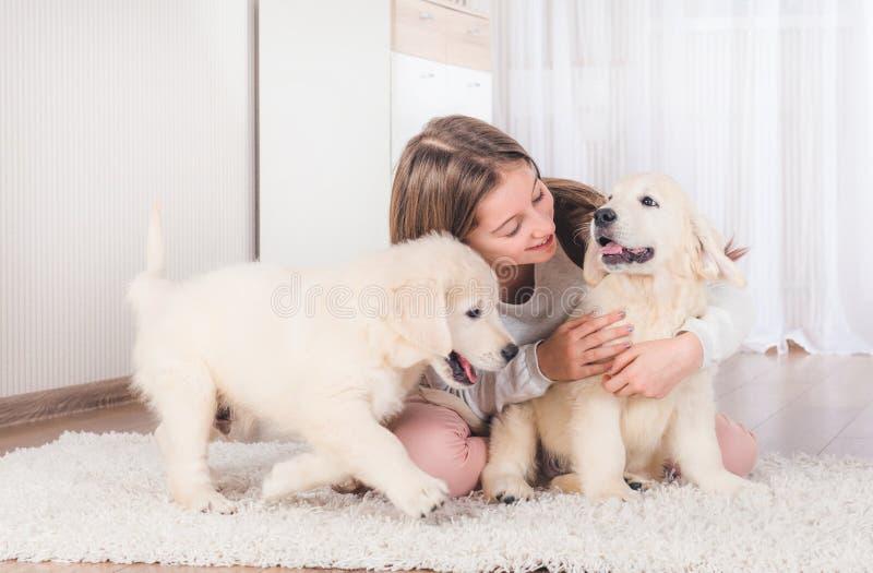 La niña se sienta abrazando perritos del perro perdiguero fotos de archivo libres de regalías