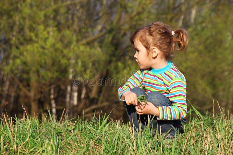 La niña se sienta en la franja del bosque imagenes de archivo