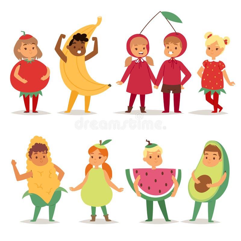 La niñez festiva del vestido de lujo de los muchachos y de las muchachas del traje de las frutas de los niños de la historieta va stock de ilustración