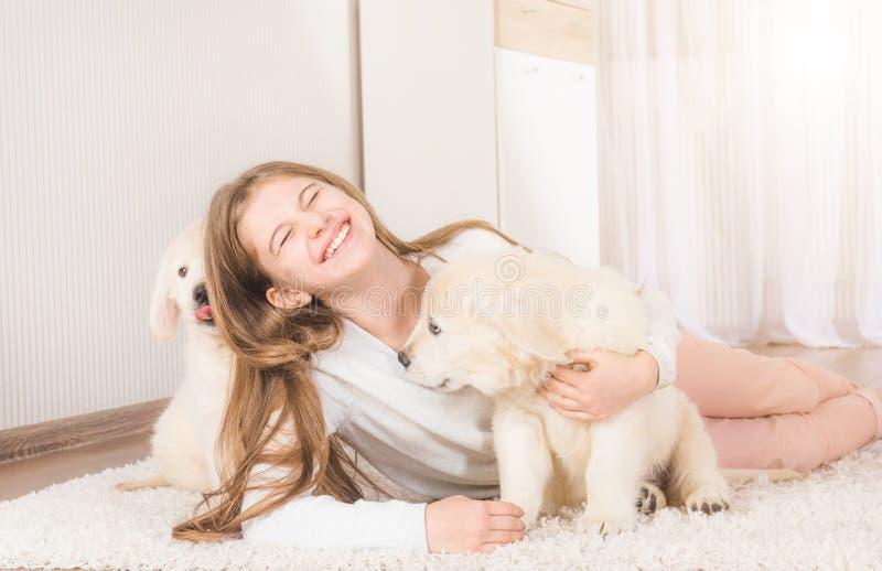 La ni?a se sienta abrazando perritos del perro perdiguero fotografía de archivo