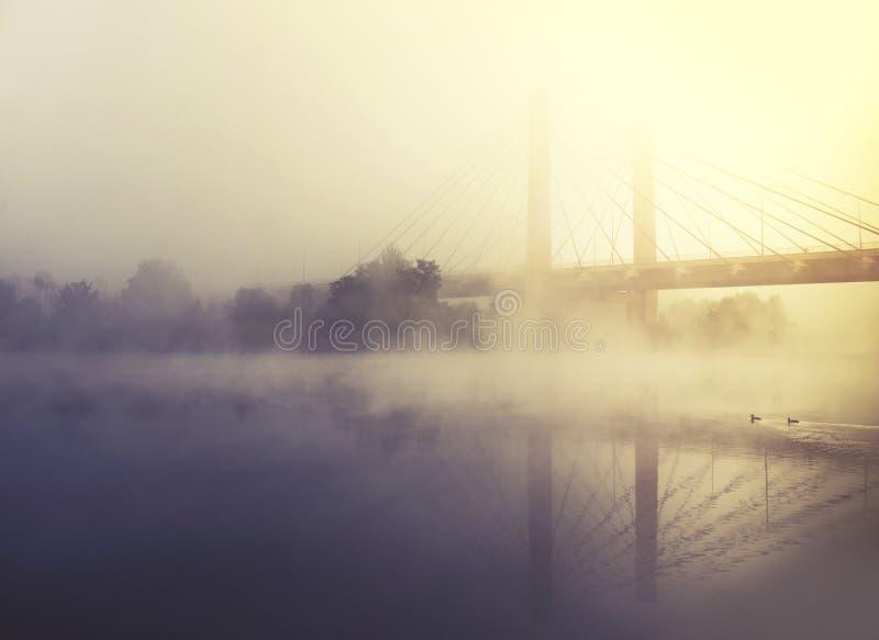 La niebla cubre el río y el puente en la salida del sol fotografía de archivo