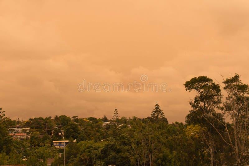 La niebla de los incendios forestales de Australia cuelga sobre la costa norte en Auckland, Nueva Zelanda fotos de archivo libres de regalías