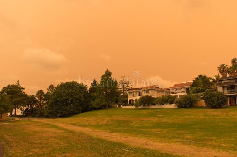La niebla de los incendios forestales de Australia cuelga sobre la costa norte en Auckland, Nueva Zelanda imágenes de archivo libres de regalías