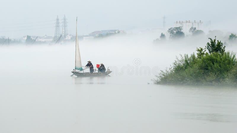 La niebla del pueblo de Xiaya imágenes de archivo libres de regalías