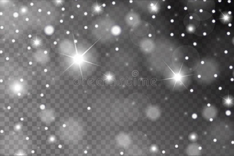 La nieve blanca brillante abstracta, chispea y señala por medio de luces modelo del efecto aislado en fondo transparente libre illustration