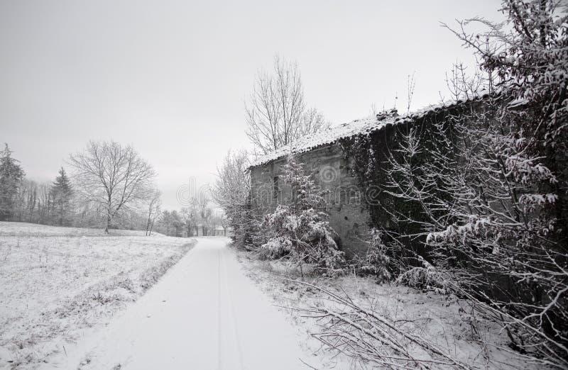 La nieve blanquea los prados de los campos y los caminos imagen de archivo