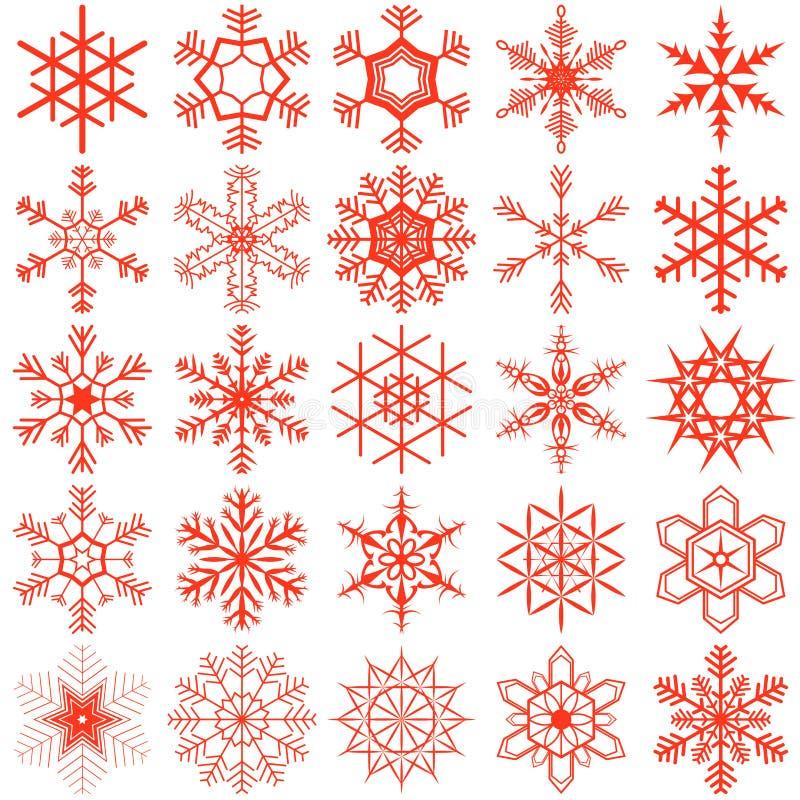 La nieve forma escamas colección stock de ilustración