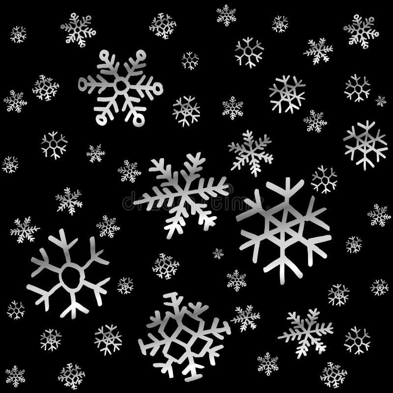 La nieve o el cielo nocturno que cae con las estrellas vector el modelo inconsútil stock de ilustración