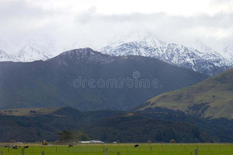 La nieve remató las montañas y los pastos del valle verde fotografía de archivo
