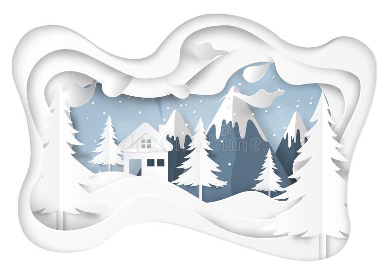 La nieve y el invierno sazonan con el fondo del paisaje de la naturaleza stock de ilustración