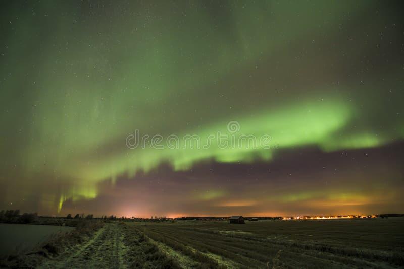 La noche de auroras imagen de archivo libre de regalías