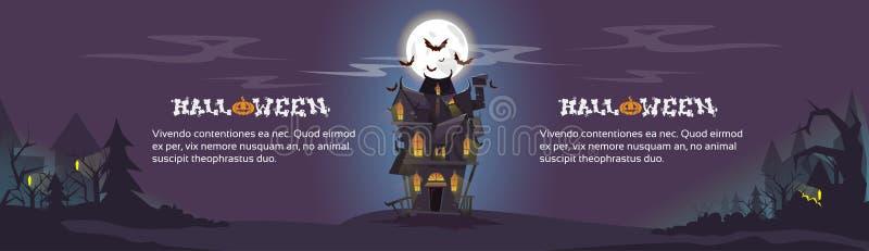 La noche de Halloween de la casa golpea el vuelo alrededor ilustración del vector