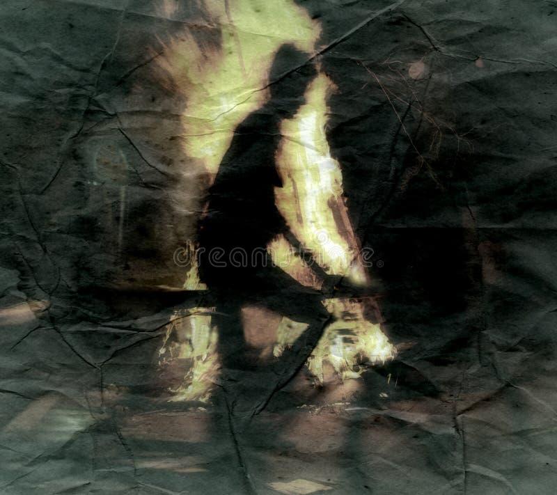 La noche de Walpurgis del fuego Bruja del vuelo en una escoba imagen de archivo