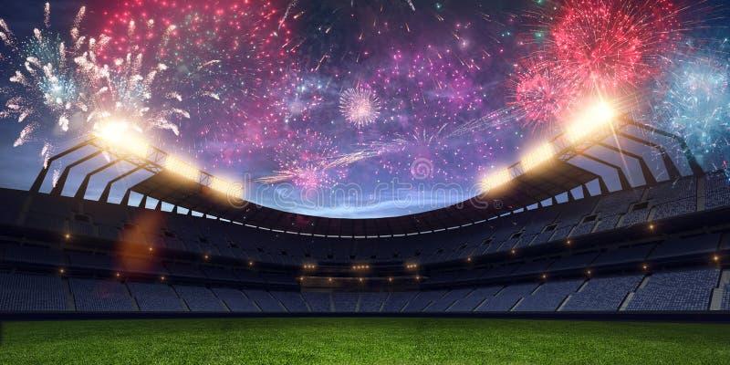 La noche del estadio sin los fuegos artificiales 3d de la gente rinde imágenes de archivo libres de regalías