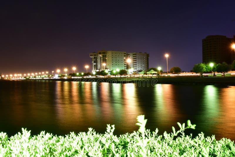 La noche tiró en la playa en AlKHobar de la Arabia Saudita imagen de archivo libre de regalías