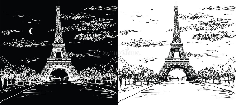 La noche y el día ajardinan con la torre Eiffel en blanco y negro libre illustration