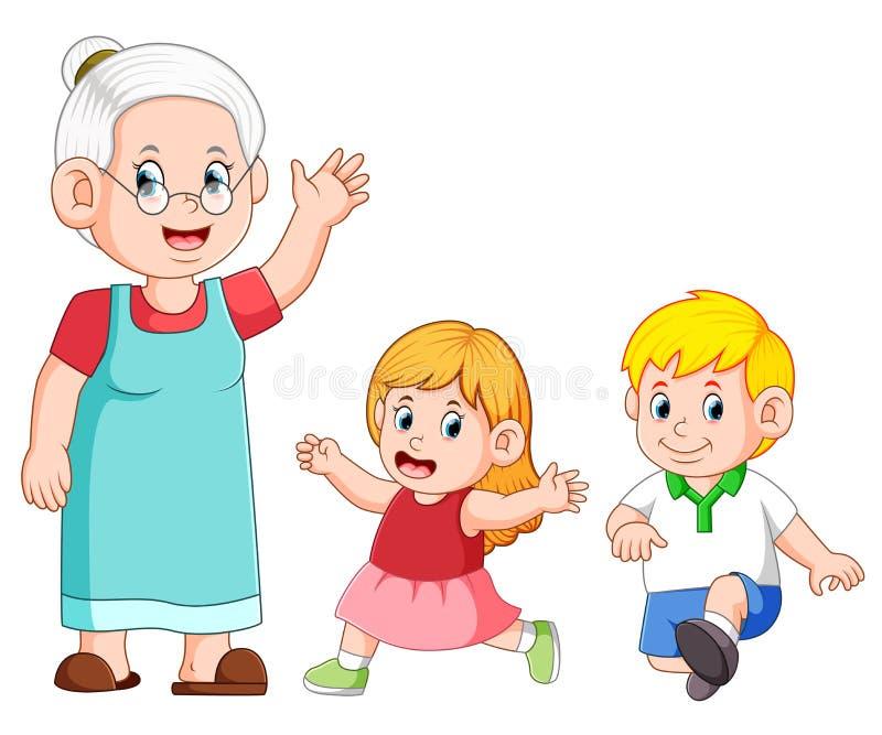 la nonna ciao e sta giocando con il suo nipote royalty illustrazione gratis