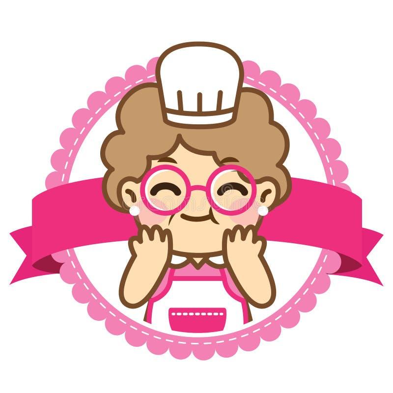 La nonna sta cucinando Stile sveglio illustrazione di stock