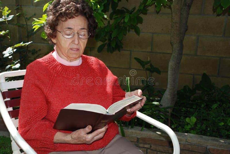 La nonna studia la bibbia nel G fotografie stock