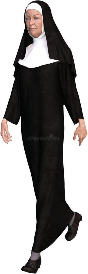La nonne Walking, Christian Woman, a isolé illustration de vecteur