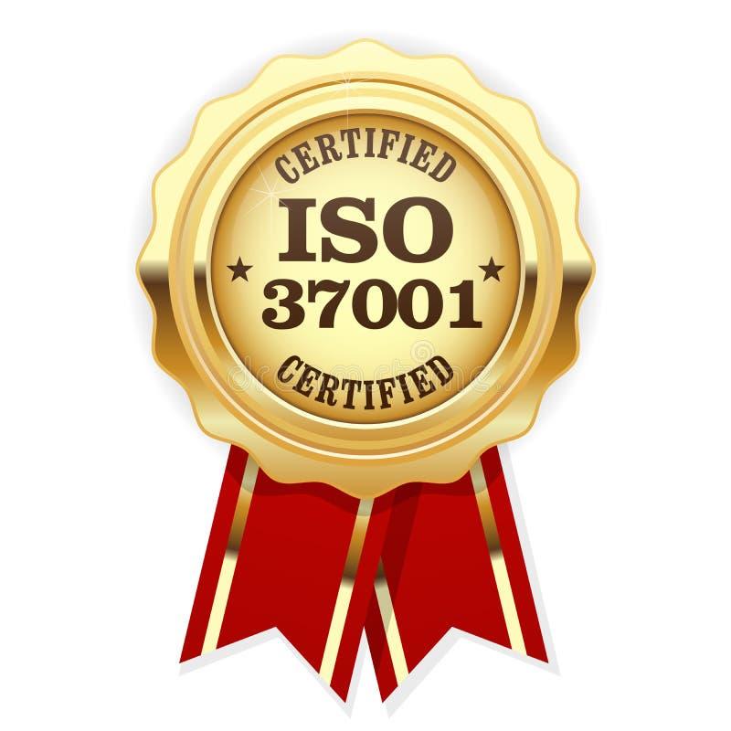 La norme d'OIN 37001 a certifié la rosette - gestion d'Anti-corruption illustration libre de droits