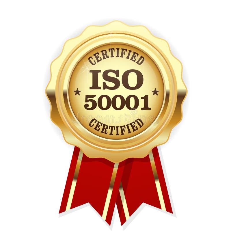 La norme d'OIN 50001 a certifié la rosette - gestion de l'énergie illustration stock