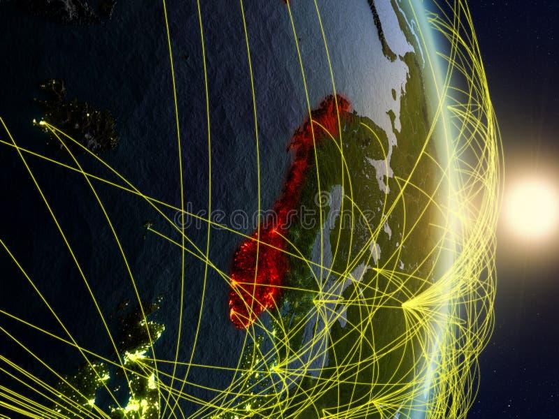 La Norvège sur la terre reliée au réseau de planète photos libres de droits