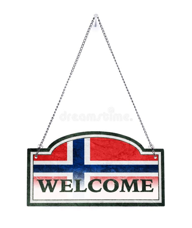 La Norvège vous accueille ! Vieux signe en métal d'isolement photographie stock libre de droits