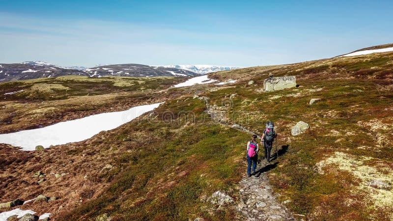 La Norvegia - una coppia che fa un'escursione nel plateau dell'altopiano fotografie stock libere da diritti