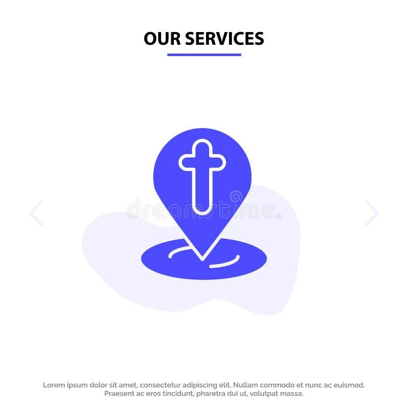 La nostra posizione di servizi, mappa, Pasqua, modello della carta di Pin Solid Glyph Icon Web illustrazione di stock