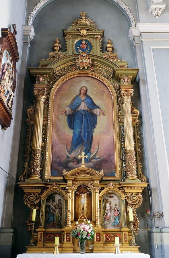 La nostra signora, altare nella basilica del cuore sacro di Gesù a Zagabria immagini stock libere da diritti
