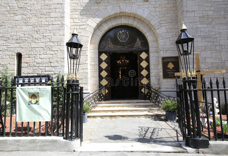 La nostra signora della cattedrale cattolica del Libano Maronite in Brooklyn Heights fotografie stock libere da diritti