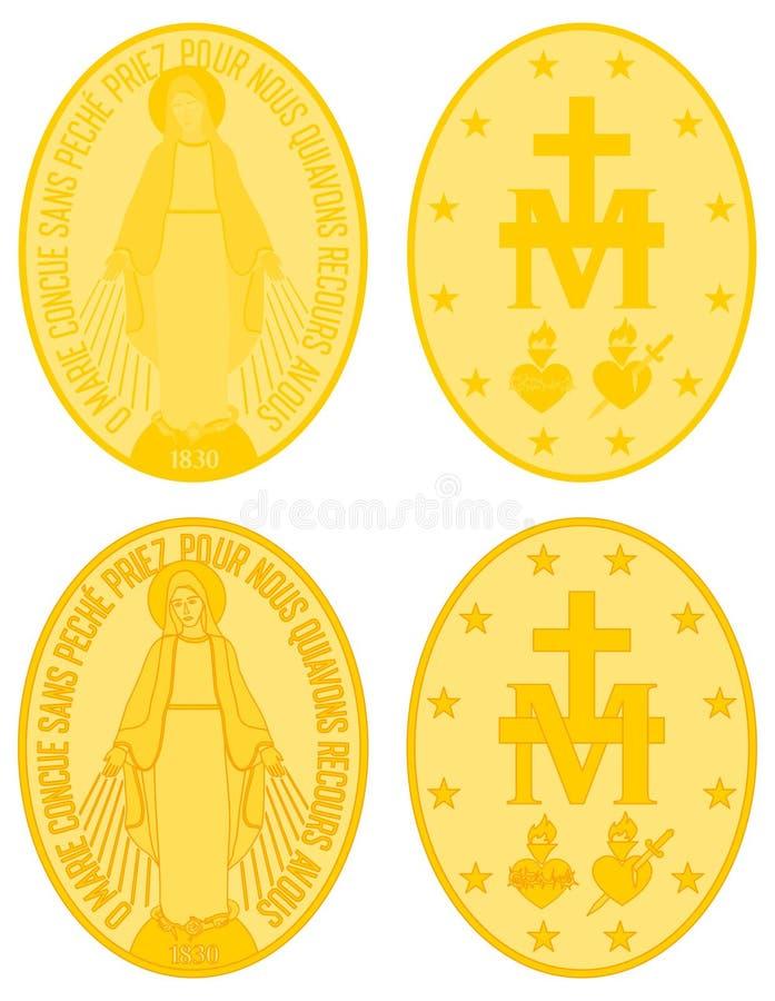 La nostra signora della medaglia d'oro di tolleranza colorata e del profilo royalty illustrazione gratis