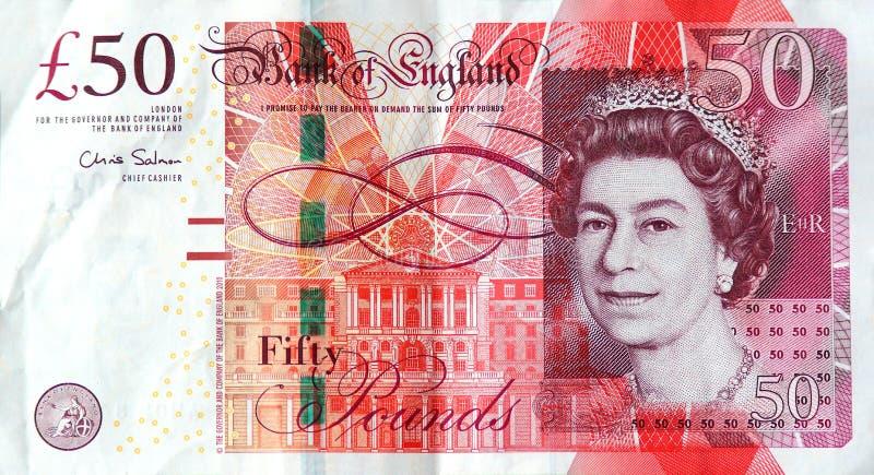 La nota £50 fotografia stock