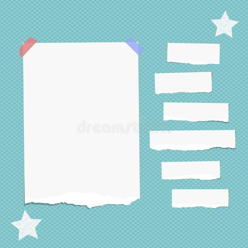 La nota blanca rasgada, cuaderno, tiras de papel del cuaderno pegadas con la cinta pegajosa, protagoniza en fondo azul ajustado stock de ilustración