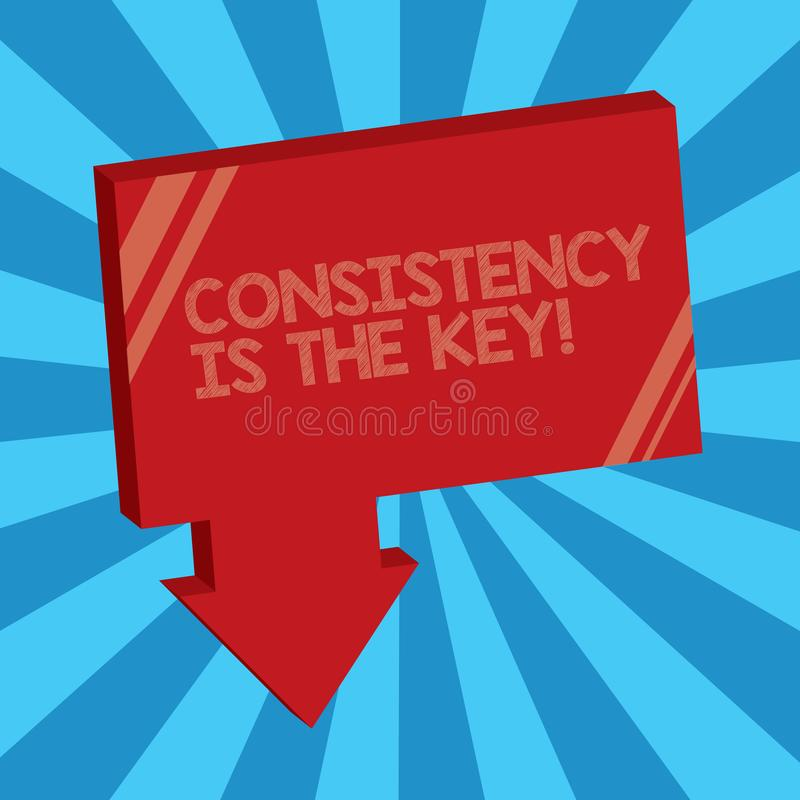 La nota de la escritura que muestra consistencia es la llave Foto del negocio que muestra el esmero completo a una tarea un hábit libre illustration
