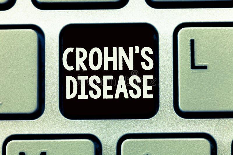 La nota de la escritura que muestra Crohn s es enfermedad Foto del negocio que muestra la enfermedad inflamatoria del aparato gas imagen de archivo