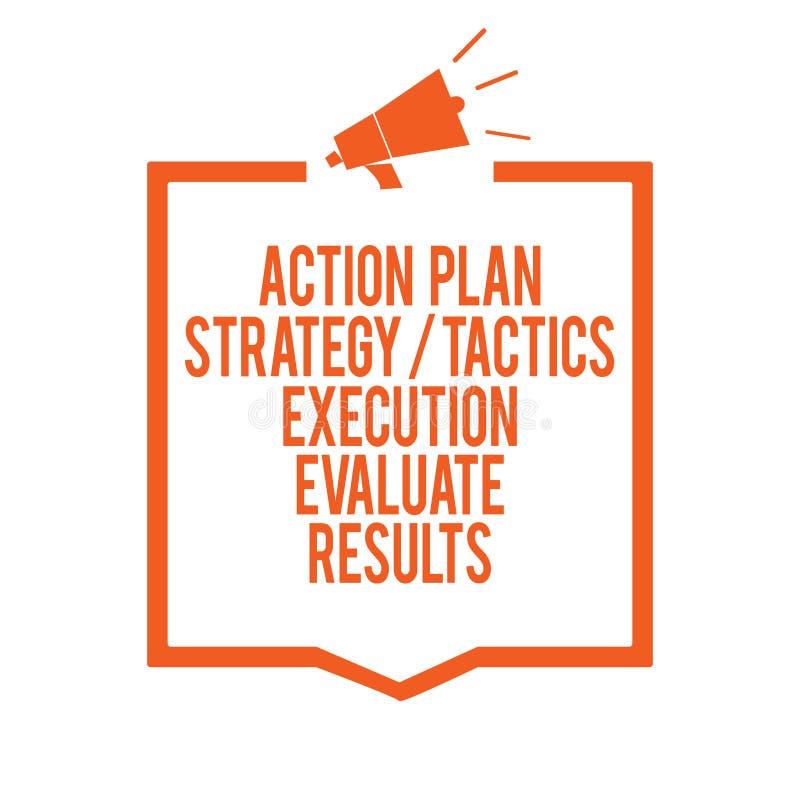 La nota de la escritura que muestra la ejecución de las táctica de la estrategia del plan de actuación evalúa resultados Reacción foto de archivo libre de regalías