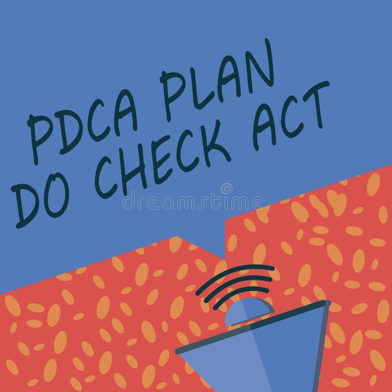 La nota de la escritura que muestra el plan de Pdca hace acto de control La foto del negocio que mostraba la rueda de Deming mejo stock de ilustración
