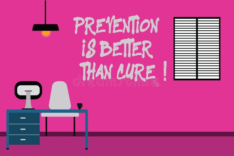 La nota de la escritura que muestra la prevención es mejor que la curación Foto del negocio que muestra siempre para ser conscien foto de archivo libre de regalías