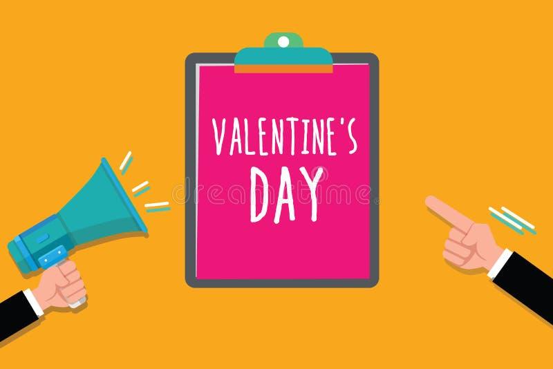 La nota de la escritura que muestra a la tarjeta del día de San Valentín s es día Tiempo de exhibición de la foto del negocio en  ilustración del vector