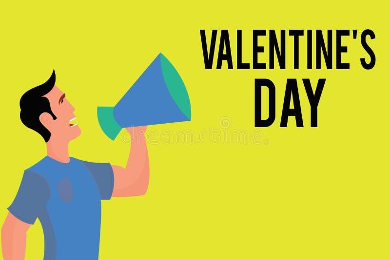 La nota de la escritura que muestra a la tarjeta del día de San Valentín s es día Tiempo de exhibición de la foto del negocio en  stock de ilustración