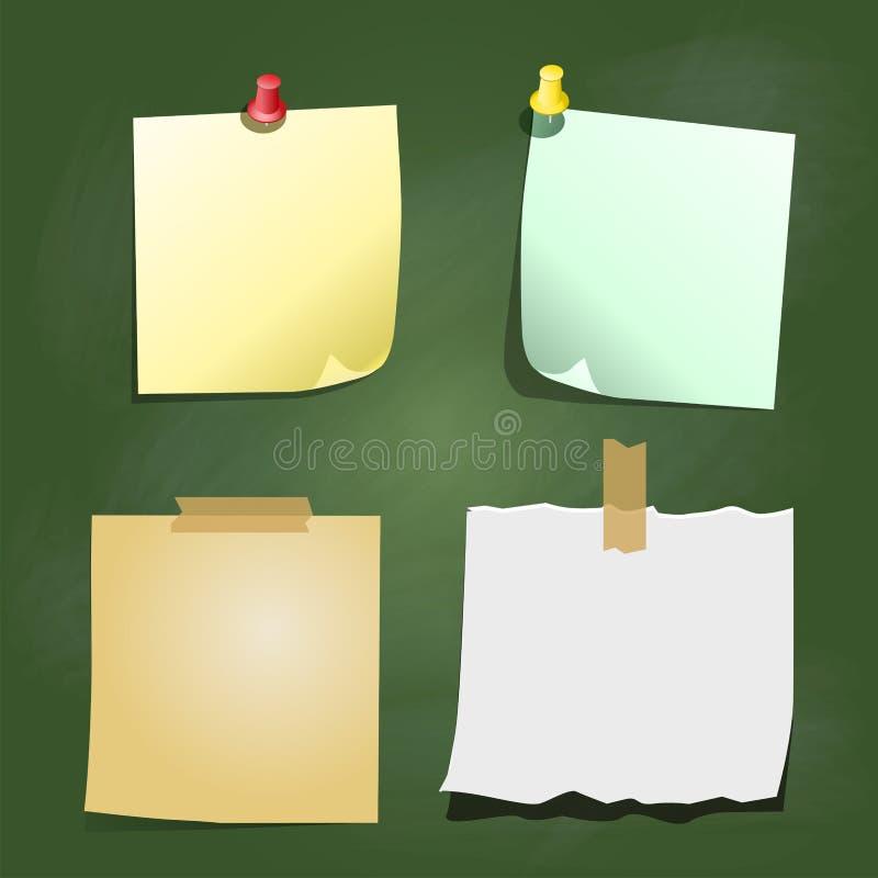 La nota de papel sobre tablero verde - Vector el ejemplo ilustración del vector