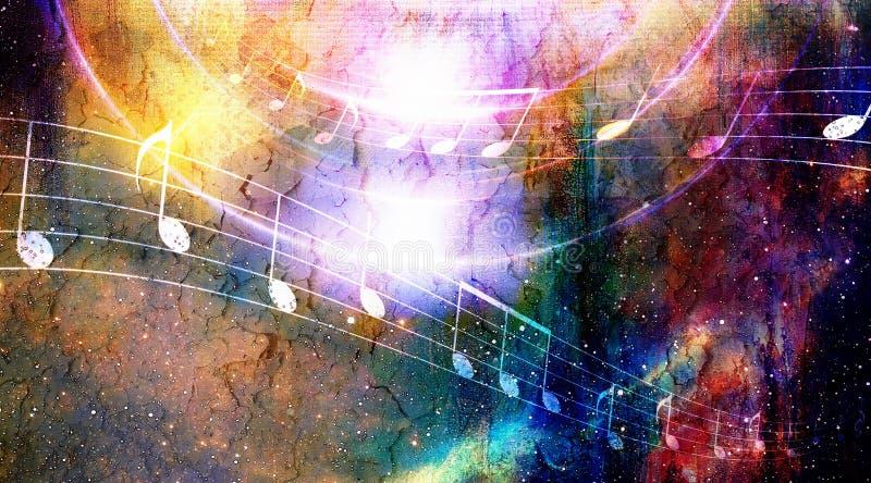 La nota di musica e lo spazio e le stelle con abstrtact colorano il fondo royalty illustrazione gratis